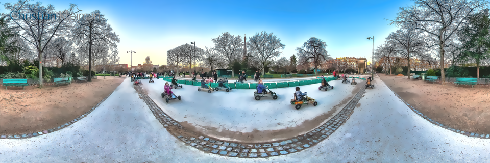 Kids Pedal Cars - Winter at Champ de Mars Garden - Creative 360 VR Spherical Panoramic Photography from emblematic places in Paris by © Christian Kleiman