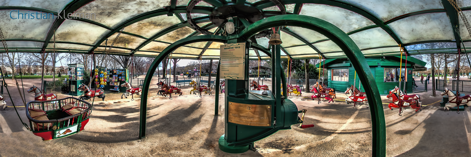 Carousel 1913 - Winter at Champ de Mars Garden - Creative 360 Spherical Panoramic Photography from emblematic places in Paris by © Christian Kleiman