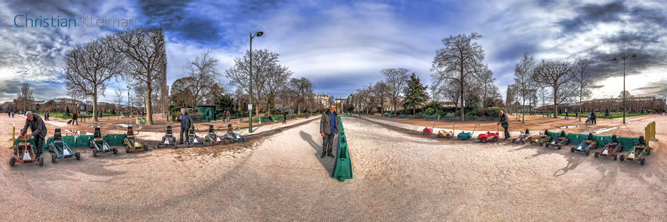 Pedal Cars - Winter at Champ de Mars Garden - Creative 360 VR Spherical Panoramic Photography from emblematic places in Paris by © Christian Kleiman