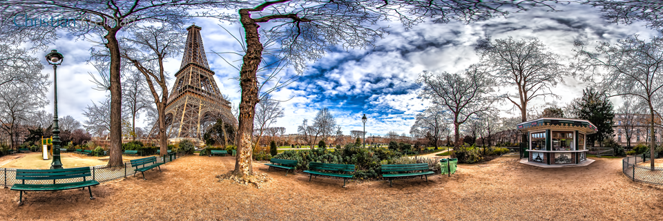 Petit Eiffel Kiosk in Winter at Champ de Mars Garden - Creative 360 VR Spherical Panoramic Photos from emblematic places in Paris by © Christian Kleiman