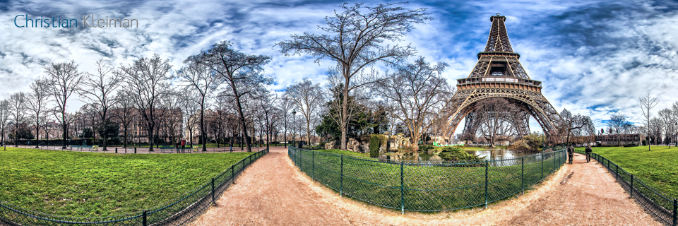 Lagoon waterfall - Eiffel Tower - Winter at Champ de Mars Garden - Creative 360 VR Spherical Panoramic Photography - Emblematic Paris by © Christian Kleiman