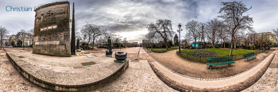Monument to Human Rights - Winter at Champ de Mars Garden - 360 VR Spherical Panoramic Photography from emblematic places in Paris by © Christian Kleiman
