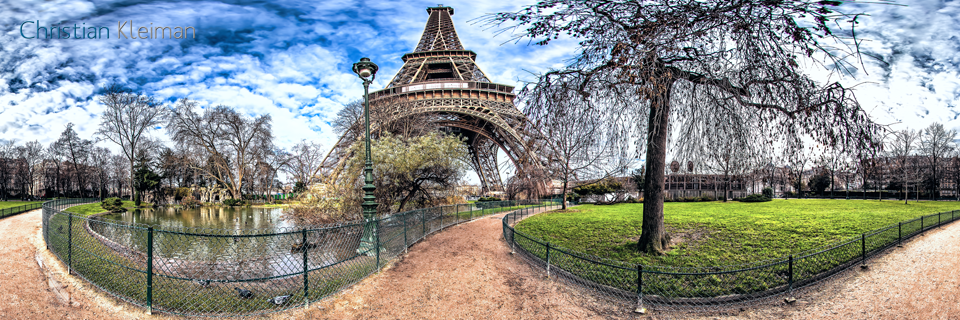 Lagoon ducks - Eiffel Tower - Winter at Champ de Mars Garden - Creative 360 VR Spherical Panoramic Photography - Emblematic Paris by © Christian Kleiman