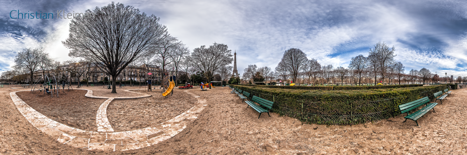 Kids Playground in Champ de Mars Garden - Creative 360 VR Spherical Panoramic Photography from emblematic places in Paris by © Christian Kleiman