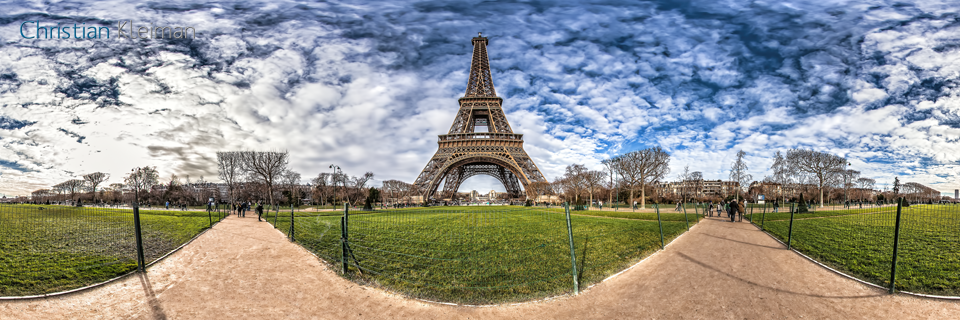 Eiffel Tower at Champ de Mars - Creative 360 VR Spherical Panoramic Photography - Emblematic places in Paris by © Christian Kleiman