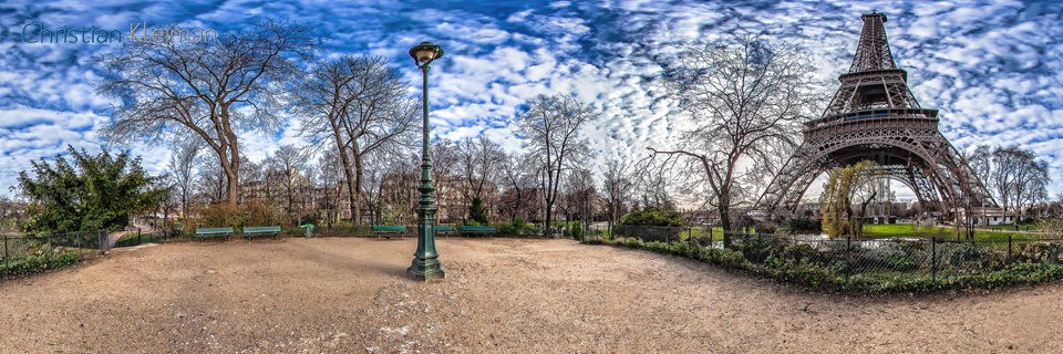 Lake sight - Eiffel Tower North-East pillars - Creative 360 VR Spherical Panoramic Photography - Emblematic places in Paris by © Christian Kleiman