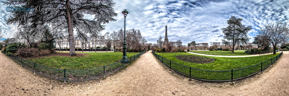 Big Tree at Champ de Mars Garden in winter - Creative 360 VR Spherical Panoramic Photography from emblematic places in Paris, France by © Christian Kleiman