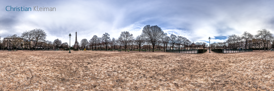 Sports Zone at Champ de Mars Garden in winter - Creative 360 VR Spherical Panoramic Photos from emblematic places in Paris, France by © Christian Kleiman