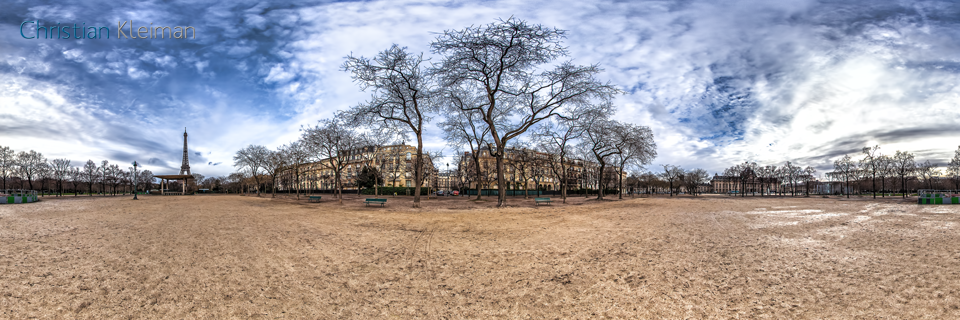 Champ de Mars Garden in winter - Creative 360 VR Spherical Panoramic Photography from emblematic places in Paris, France by © Christian Kleiman