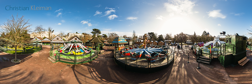 Amusement Ride Village at Le Jardin d'Acclimatation - Bois de Boulogne - Creative 360 VR Photo - Emblematic places in Paris, France by © Christian Kleiman