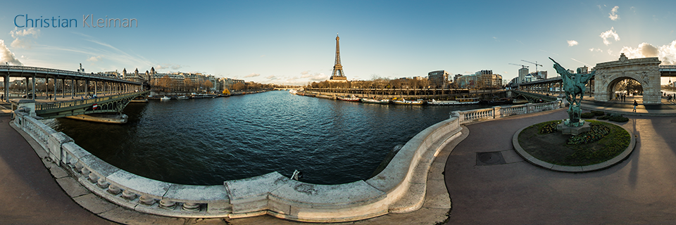 Bir-Hakeim Bridge - La France Renaissante Monument - Seine River - Creative 360 VR Pano Photo - Emblematic places in Paris, France by © Christian Kleiman