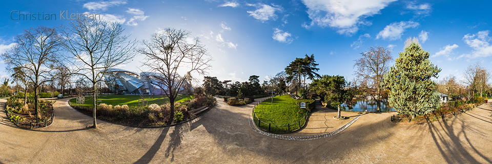Foundation Louis Vuitton from Le Jardin d'Acclimatation - Bois de Boulogne - 360 VR Pano - Emblematic places in Paris, France by © Christian Kleiman