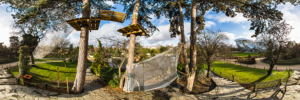 The Zip-Line - La Tyrolienne at Le Jardin d'Acclimatation - Bois de Boulogne - 360 VR Photo - Emblematic places in Paris, France by © Christian Kleiman