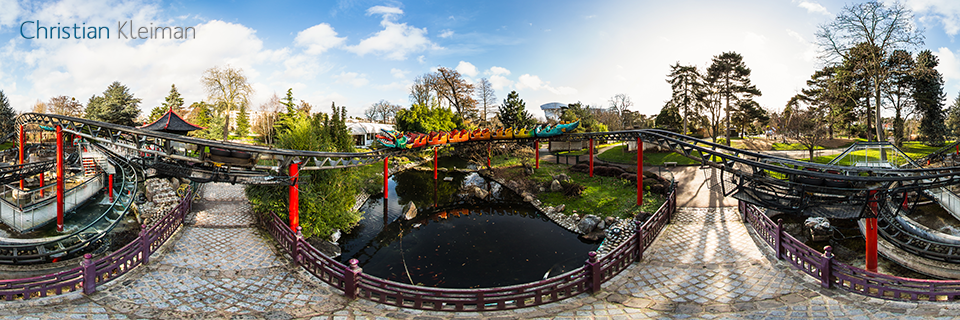 Dragon Roller Coaster at Le Jardin d'Acclimatation - Bois de Boulogne - Creative 360 VR Photo - Emblematic places in Paris, France by © Christian Kleiman