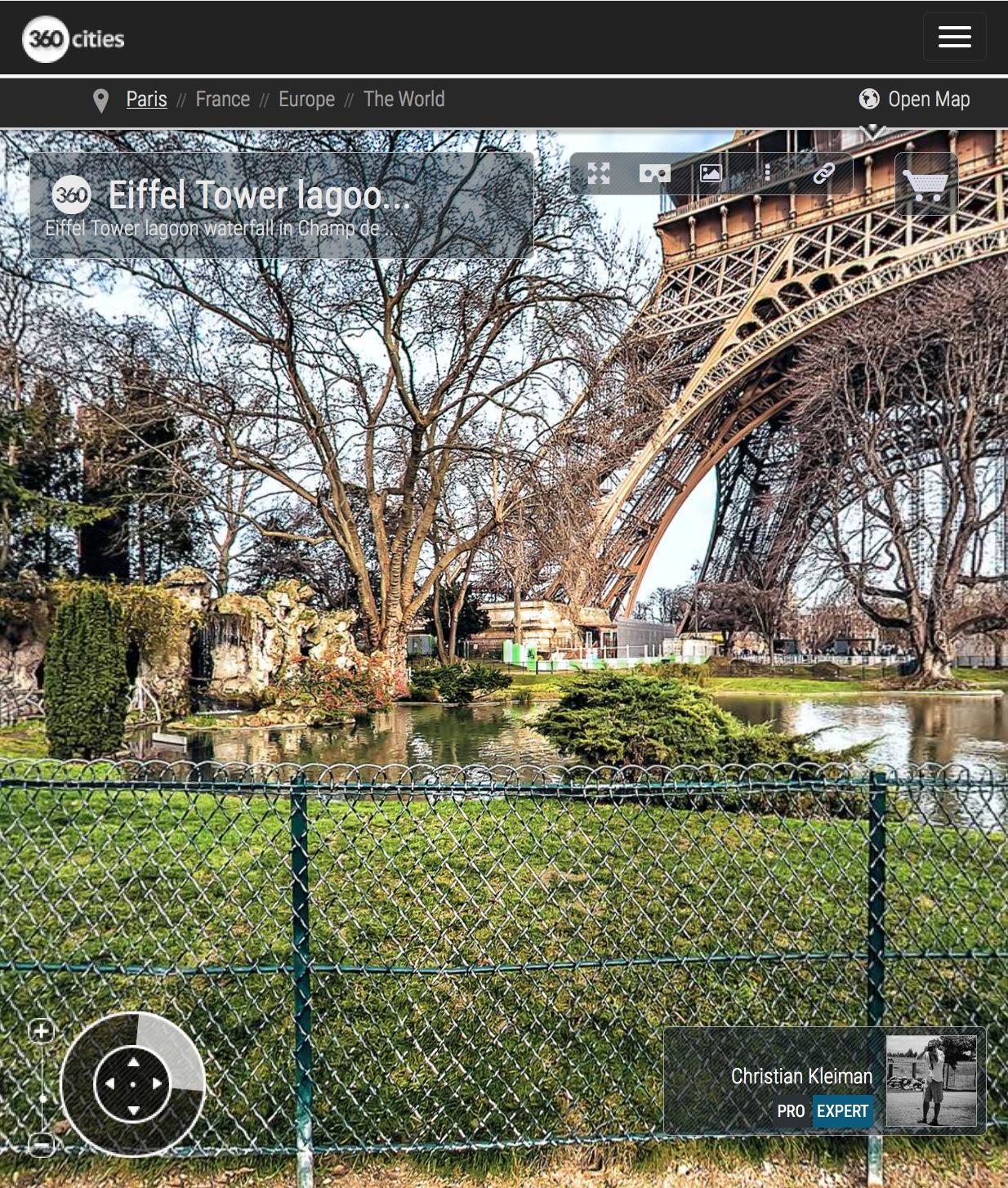 Lagoon waterfall - Eiffel Tower - Winter at Champ de Mars Garden - Creative 360 VR Spherical Panoramic Photography - Emblematic Paris by © Christian Kleiman