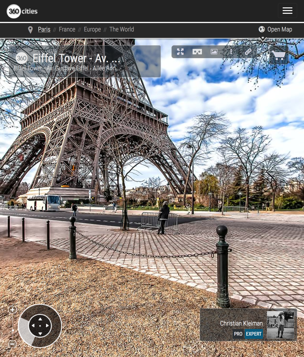 Eiffel Tower Paris - Av. Gustave Eiffel - Allée Adrienne Lecouvreur - Creative 360 VR Spherical Panoramic Photos - Emblematic Paris by © Christian Kleiman