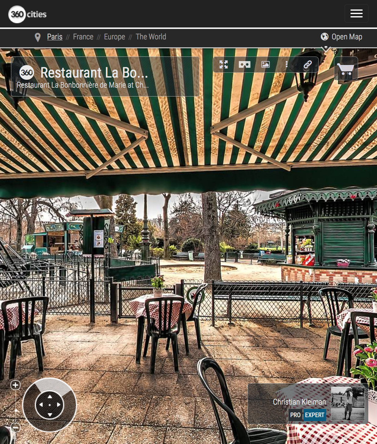 Restaurant La Bonbonnière de Marie - Winter at Champ de Mars - Creative 360 Spherical Panoramic Photography from places in Paris by © Christian Kleiman
