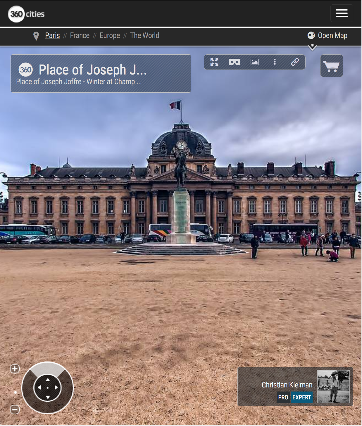 Place of Joseph Joffre - Winter at Champ de Mars Garden - 360 VR Spherical Panoramic Photography from emblematic places in Paris by © Christian Kleiman