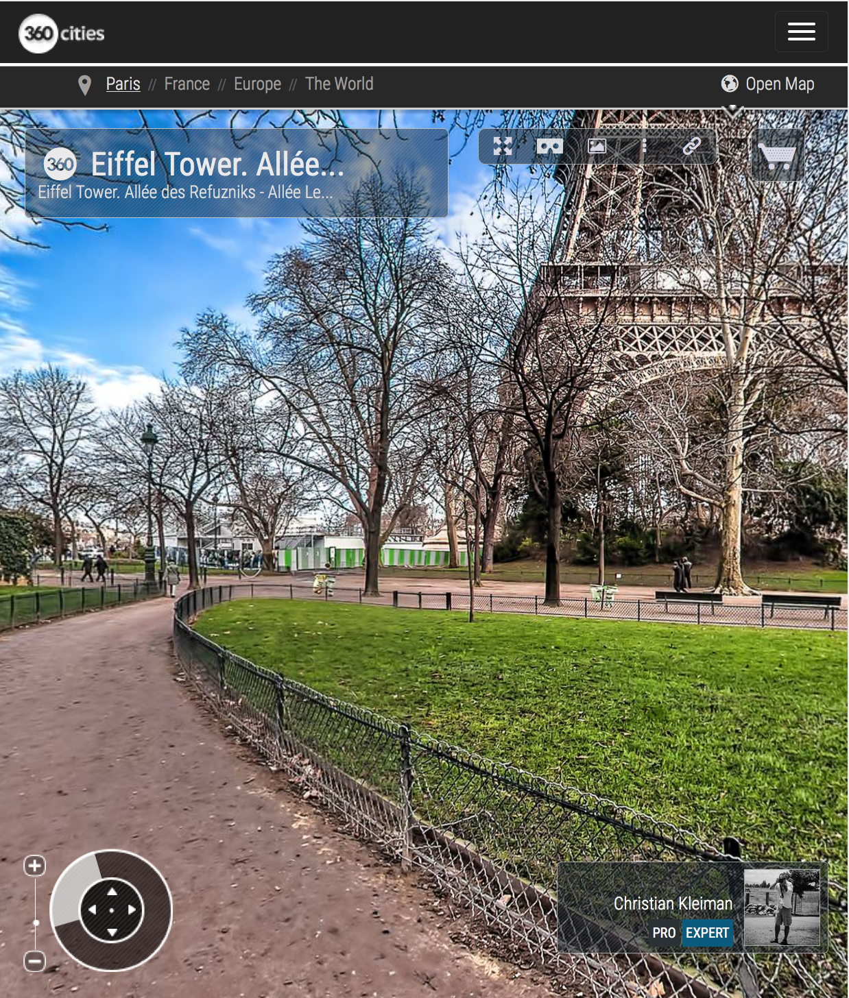 Eiffel Tower. Allée des Refuzniks - Allée Leon Bourgeois - Creative 360 VR Spherical Panoramic Photography - Emblematic Paris by © Christian Kleiman