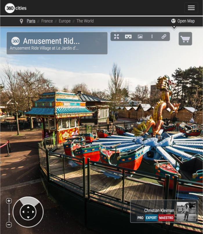 Amusement Ride Village at Le Jardin d'Acclimatation - Bois de Boulogne - Creative 360 VR Photo - Emblematic places in Paris, France by © Christian Kleiman