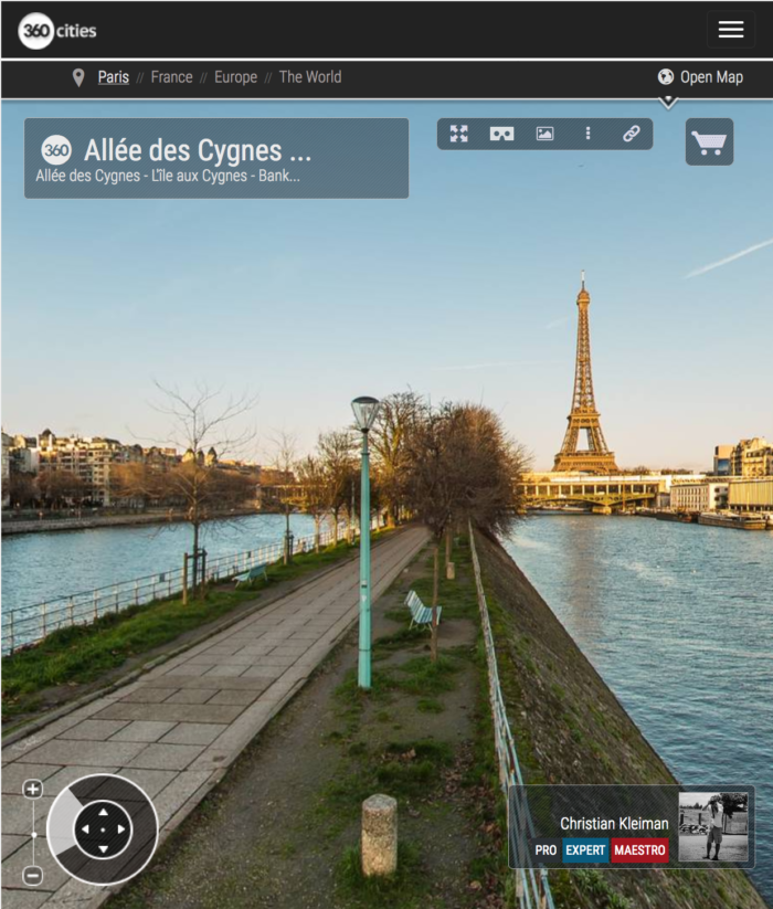Along Allée des Cygnes -L'île aux Cygnes - Seine River - Creative 360 VR Pano Photo - Emblematic places in Paris, France by © Christian Kleiman