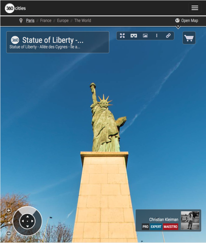 Statue of Liberty - L'île aux Cygnes - Seine River - Creative 360 VR Pano Photo - Emblematic places in Paris, France by © Christian Kleiman Photographer