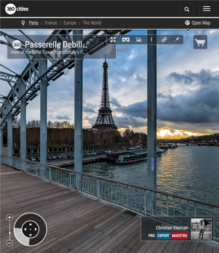 360 VR Photo from Eiffel Tower at Passerelle Debilly - Debilly's Footbridge - Seine River, Paris