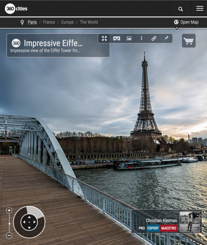 360 VR Photo. Impressive Eiffel Tower view at Passerelle Debilly - Debilly Footbridge - Seine River, Paris