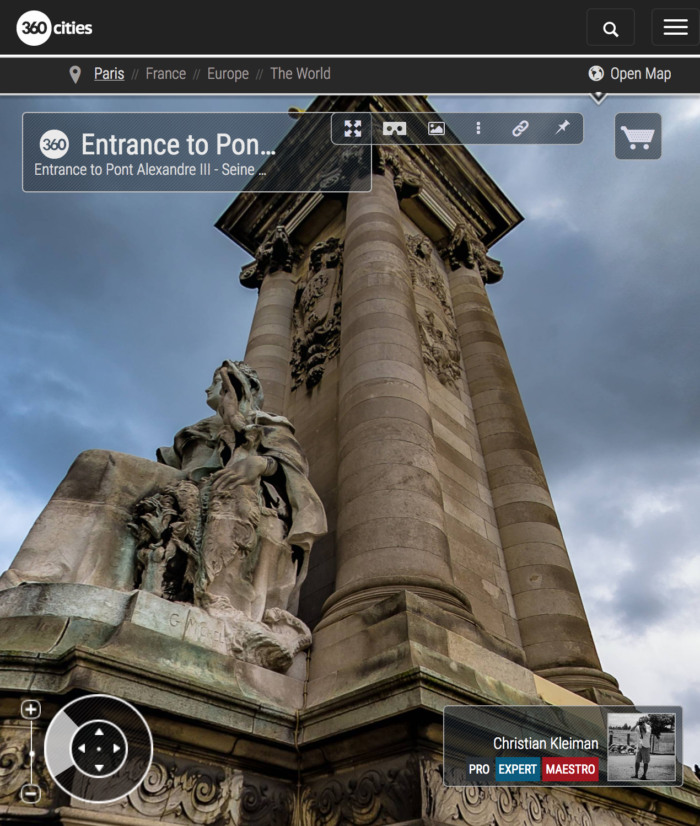 360 VR Photo at entrance to Alexandre III Bridge - Pont de Alexandre III - Seine River, Paris