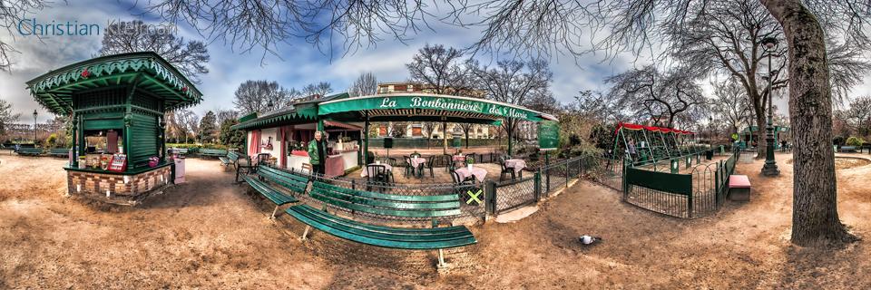 La Bonbonnière de Marie - Winter at Champ de Mars Garden - Creative 360 Spherical Panoramic Photography from places in Paris by © Christian Kleiman