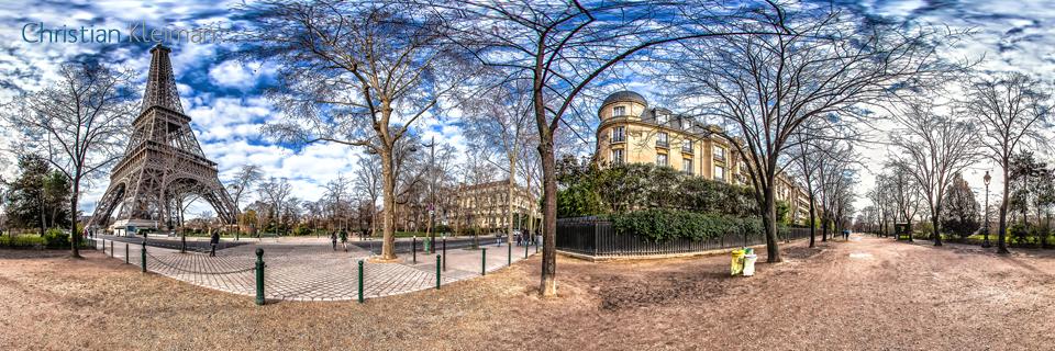 Eiffel Tower Paris - Av. Gustave Eiffel - Allée Adrienne Lecouvreur - Creative 360 VR Spherical Panoramic Photos - Emblematic Paris by © Christian Kleiman
