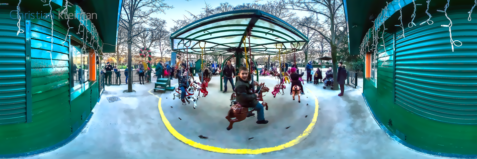 Paris Carousel 1913 - Winter at Champ de Mars Garden - Creative 360 Spherical Panoramic Photography from emblematic places in Paris by © Christian Kleiman