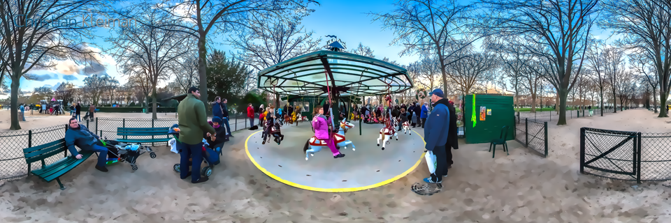 Kids Carousel 1913 - Winter at Champ de Mars Garden - Creative 360 Spherical Panoramic Photography from emblematic places in Paris by © Christian Kleiman