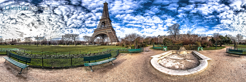 Small Pond at Champ de Mars Garden Paris - Creative 360 VR Spherical Panoramic Photography from emblematic places in Paris by © Christian Kleiman