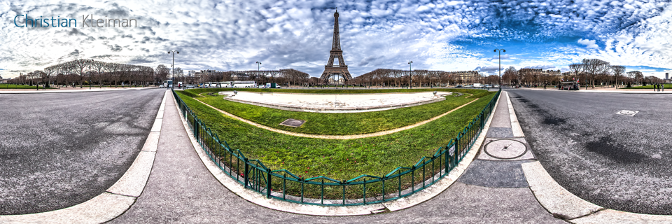 Eiffel Tower Paris - Av. Joseph Bouvard - Rue du Champ de Mars - Creative 360 VR Spherical Pano Photos - Emblematic places in Paris by © Christian Kleiman