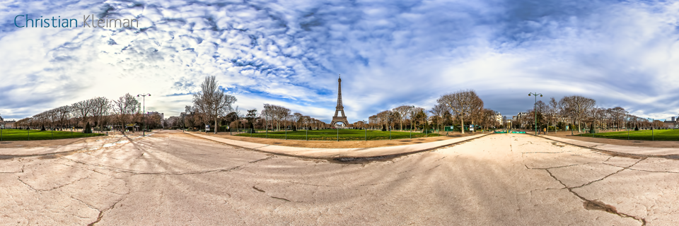 Eiffel Tower - Av. Charles Risler - Rue du Champ de Mars - Creative 360 VR Spherical Panoramic Photos - Emblematic places in Paris by © Christian Kleiman