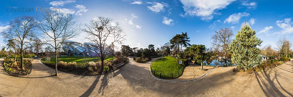 Foundation Louis Vuitton from Le Jardin d'Acclimatation - Bois de Boulogne - 360 VR Pano - Emblematic places in Paris, France by © Christian Kleiman