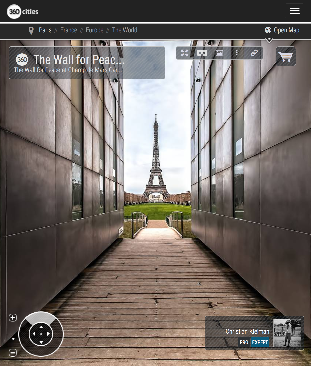 The Wall for Peace - Winter at Champ de Mars Garden - 360 VR Spherical Panoramic Photography from emblematic places in Paris by © Christian Kleiman