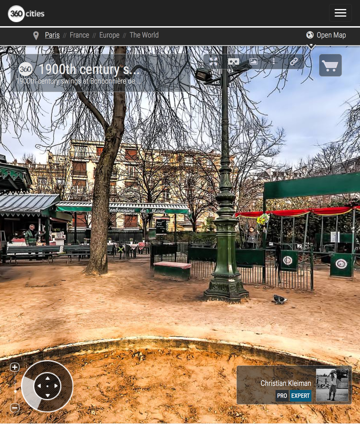 Swings at Bonbonnière de Marie - Winter at Champ de Mars Garden - Creative 360 Spherical Panoramic Photography from places in Paris by © Christian Kleiman