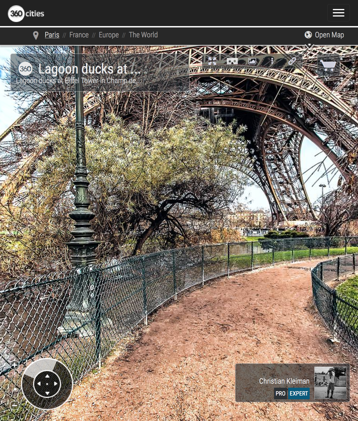 Lagoon ducks - Eiffel Tower - Winter at Champ de Mars Garden - Creative 360 VR Spherical Panoramic Photography - Emblematic Paris by © Christian Kleiman