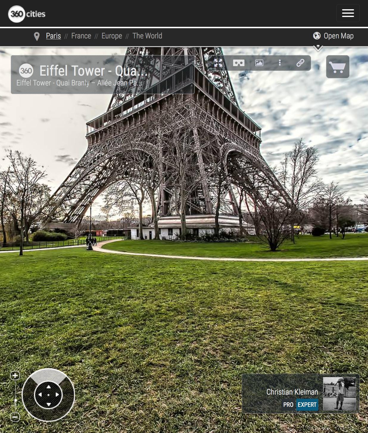 Eiffel Tower Paris - Quai Branly - Allée Jean Paulhan - Creative 360 VR Spherical Panoramic Photography - Emblematic Paris by © Christian Kleiman