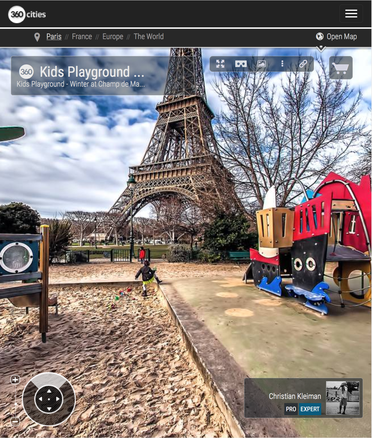 Kids Playground - Winter at Champ de Mars Garden - Creative 360 VR Spherical Panoramic Photography from emblematic places in Paris by © Christian Kleiman