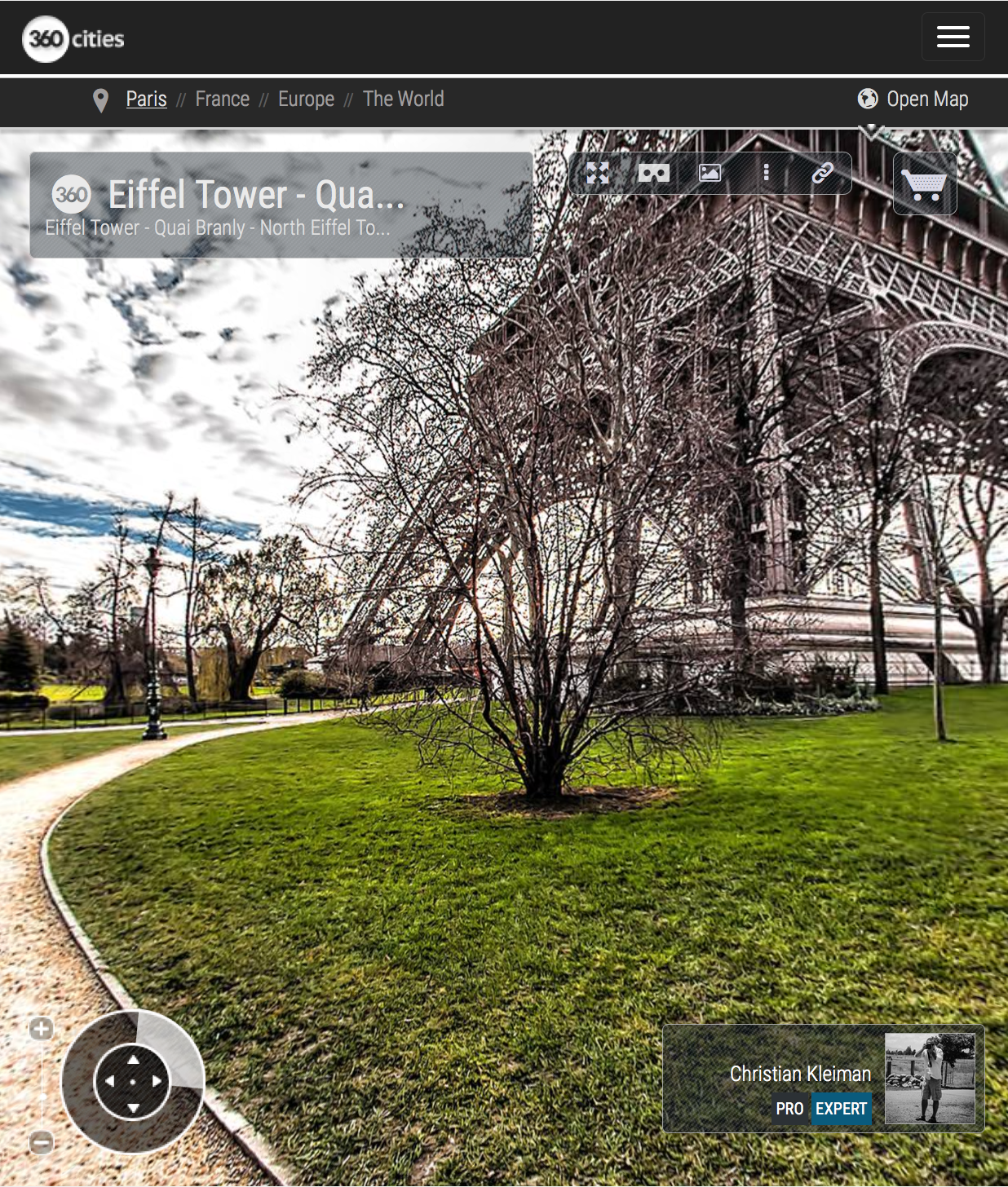 Eiffel Tower Paris - Quai Branly - North Eiffel Tower pillar - Creative 360 VR Panoramic Photography - Emblematic places in Paris by © Christian Kleiman