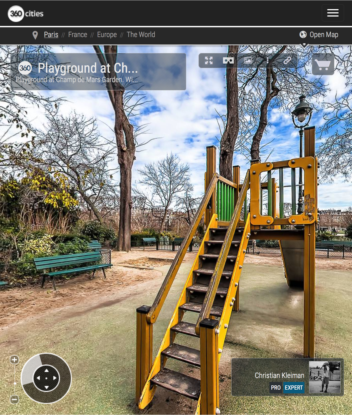 Playground in Champ de Mars Garden - Creative 360 VR Spherical Panoramic Photography from emblematic places in Paris by © Christian Kleiman