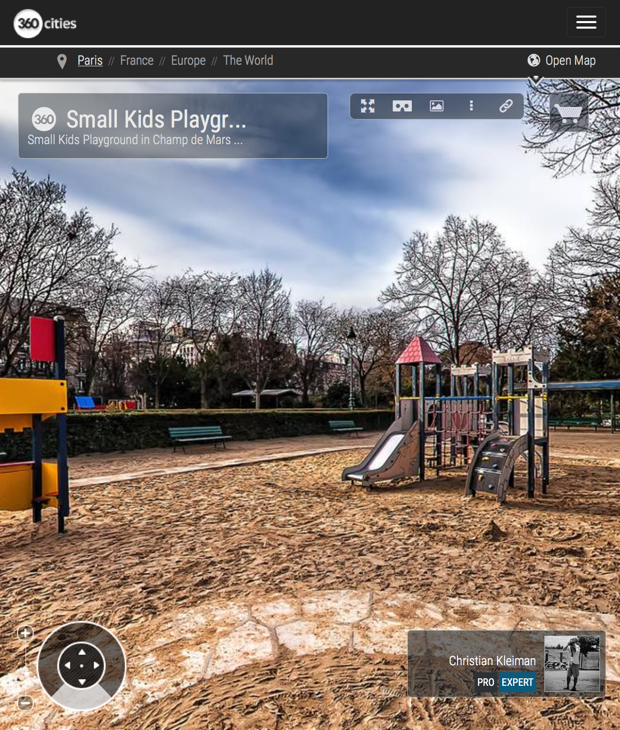Small Kids Playground in Champ de Mars Garden - Creative 360 VR Spherical Panoramic Photography from emblematic places in Paris by © Christian Kleiman