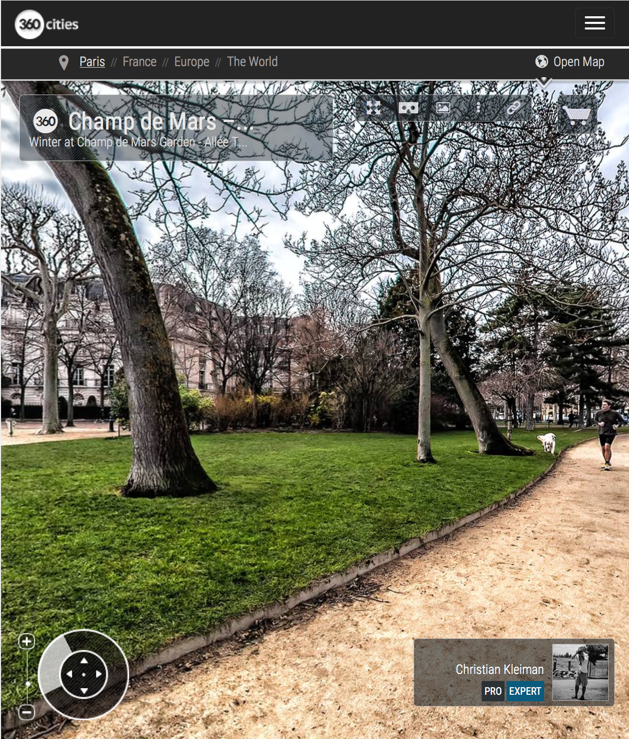 Winter at Champ de Mars Garden Paris - Creative 360 VR Spherical Panoramic Photography from emblematic places in Paris by © Christian Kleiman