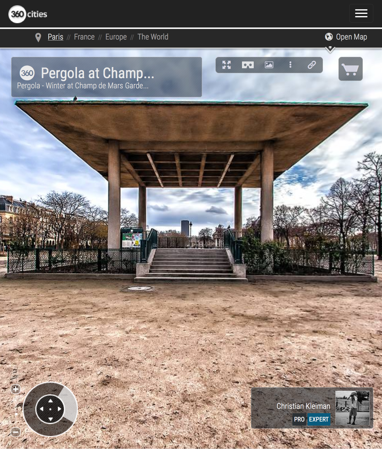 Pergola at Champ de Mars Garden in winter - Creative 360 VR Spherical Panoramic Photography from emblematic places in Paris, France by © Christian Kleiman