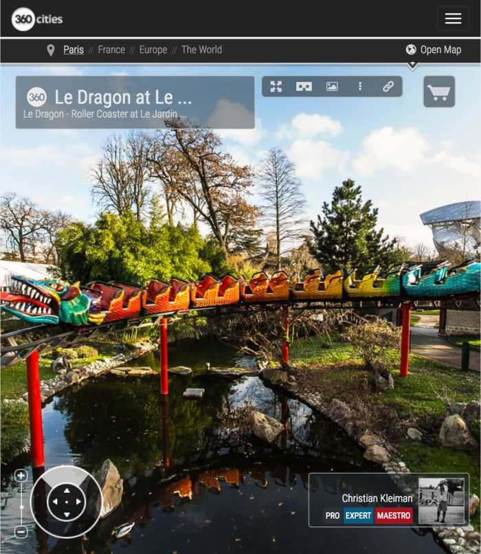 Dragon Roller Coaster at Le Jardin d'Acclimatation - Bois de Boulogne - Creative 360 VR Photo - Emblematic places in Paris, France by © Christian Kleiman