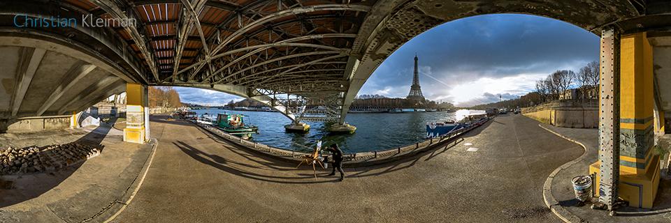 360 VR Photo from Eiffel Tower's view underneath Passerelle Debilly - Debilly's Footbridge - Seine River, Paris