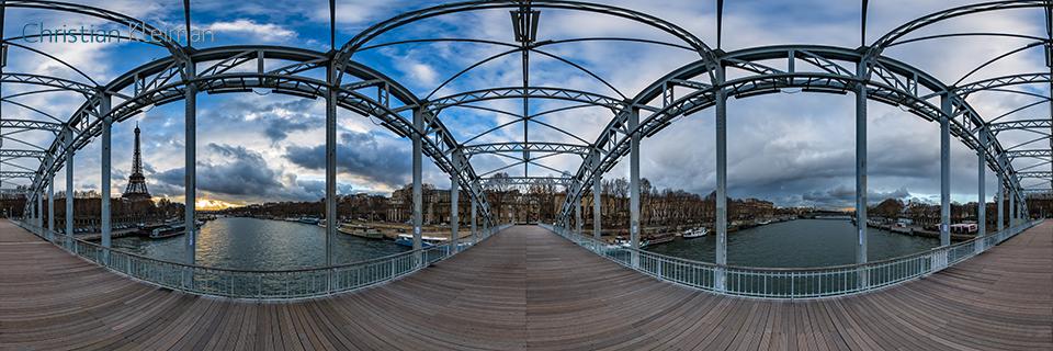 360 VR Photo from Eiffel Tower at Passerelle Debilly - Debilly's Footbridge - Seine River, Paris